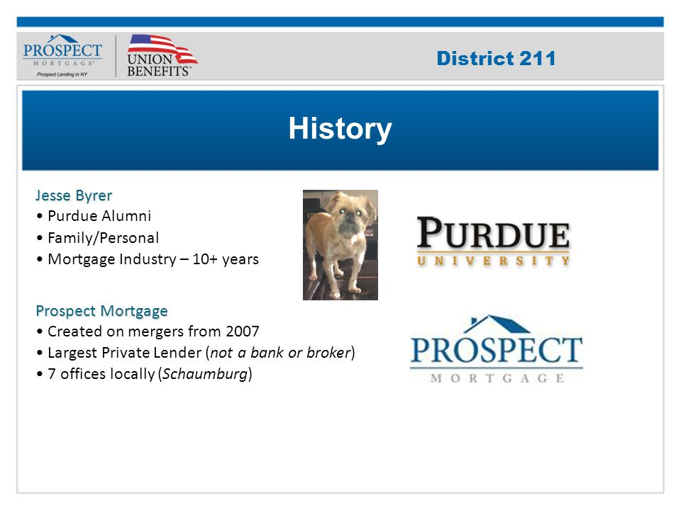 Improve Your Credit Score Jesse Byrer Purdue Alumni Family/Personal Mortgage Industry – 10+ years Prospect Mortgage Created on mergers from 2007 Largest Private Lender (not a bank or broker) 7 offices locally (Schaumburg) History District 211