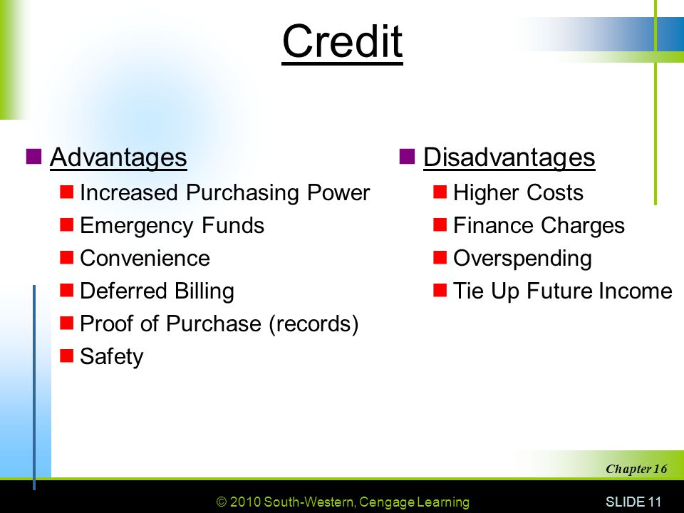 © 2010 South-Western, Cengage Learning SLIDE 11 Chapter 16 Credit Advantages Increased Purchasing Power Emergency Funds Convenience Deferred Billing P