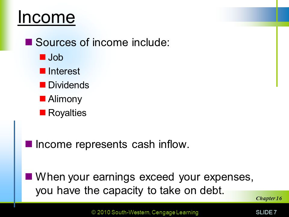 © 2010 South-Western, Cengage Learning SLIDE 28 Chapter 16 Other Sources of Credit Life insurance policies – loan doesn't have to be repaid but interest is charged and policy coverage amount will decrease.