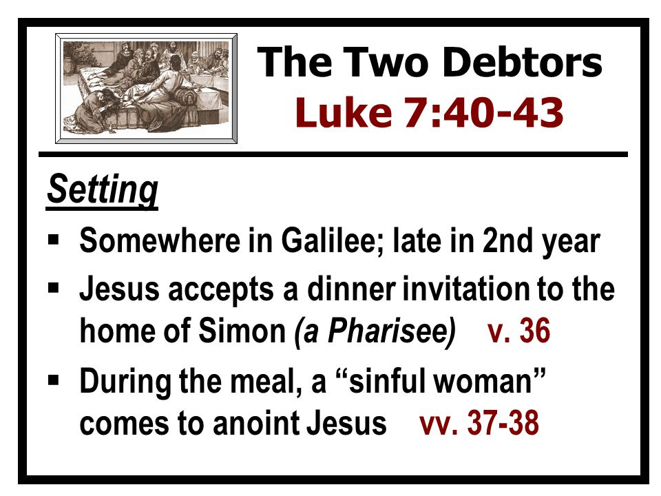 Setting  Somewhere in Galilee; late in 2nd year  Jesus accepts a dinner invitation to the home of Simon (a Pharisee) v.