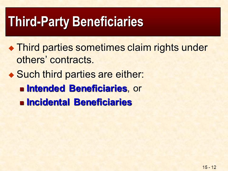 15 - 12 Third-Party Beneficiaries  Third parties sometimes claim rights under others' contracts.  Such third parties are either: Intended Beneficiar