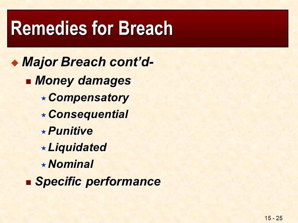 15 - 25 Remedies for Breach  Major Breach cont'd- Money damages Money damages  Compensatory  Consequential  Punitive  Liquidated  Nominal Specif