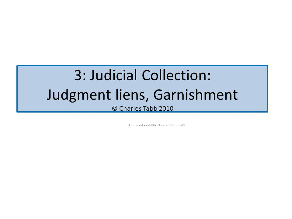 3: Judicial Collection: Judgment liens, Garnishment © Charles Tabb 2010 I don't want a subtitle.