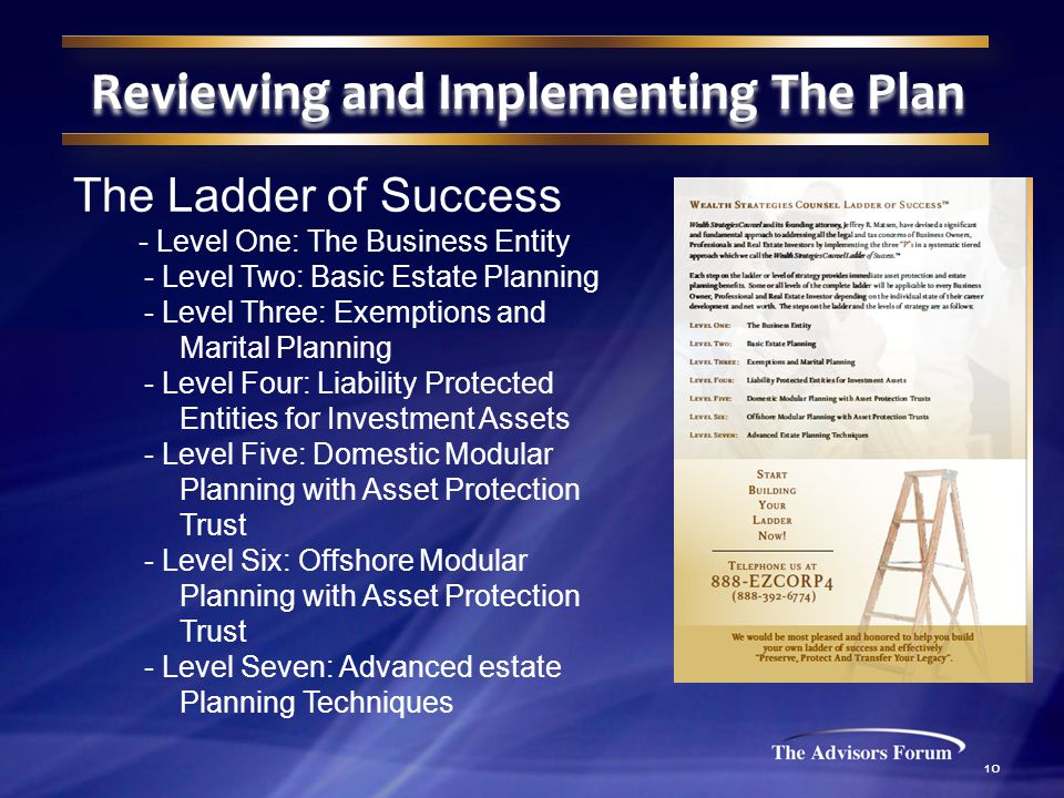 10 The Ladder of Success - Level One: The Business Entity - Level Two: Basic Estate Planning - Level Three: Exemptions and Marital Planning - Level Four: Liability Protected Entities for Investment Assets - Level Five: Domestic Modular Planning with Asset Protection Trust - Level Six: Offshore Modular Planning with Asset Protection Trust - Level Seven: Advanced estate Planning Techniques Reviewing and Implementing The Plan