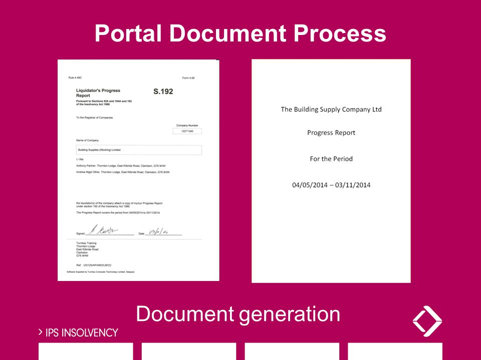 Document generation Portal Document Process
