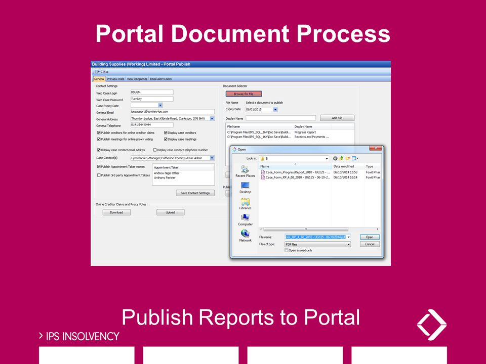 Publish Reports to Portal Portal Document Process