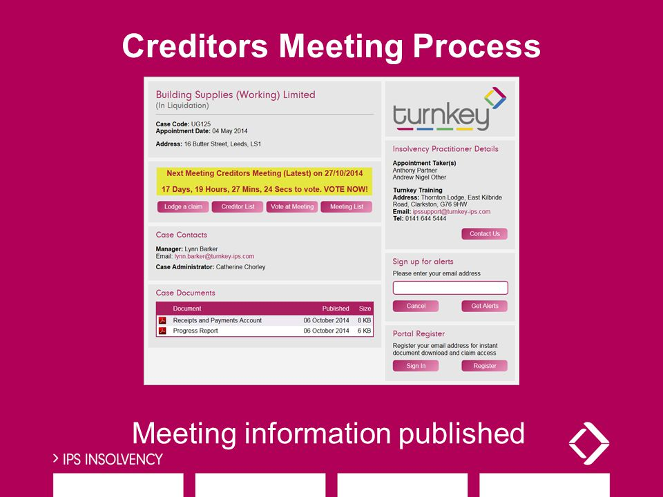Meeting information published Creditors Meeting Process
