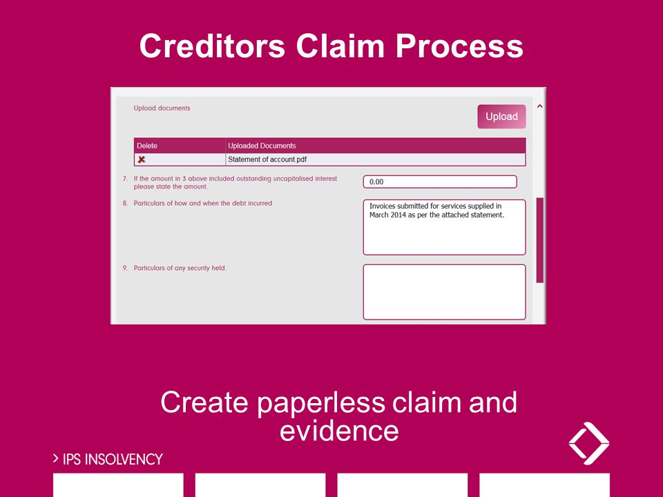 Create paperless claim and evidence