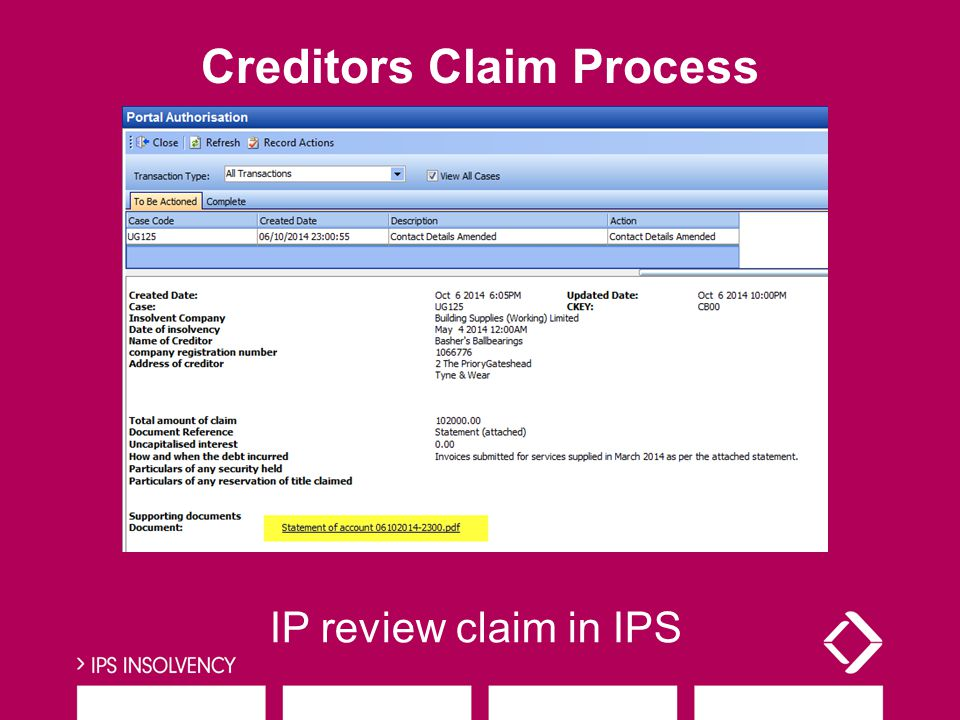 IP review claim in IPS Creditors Claim Process