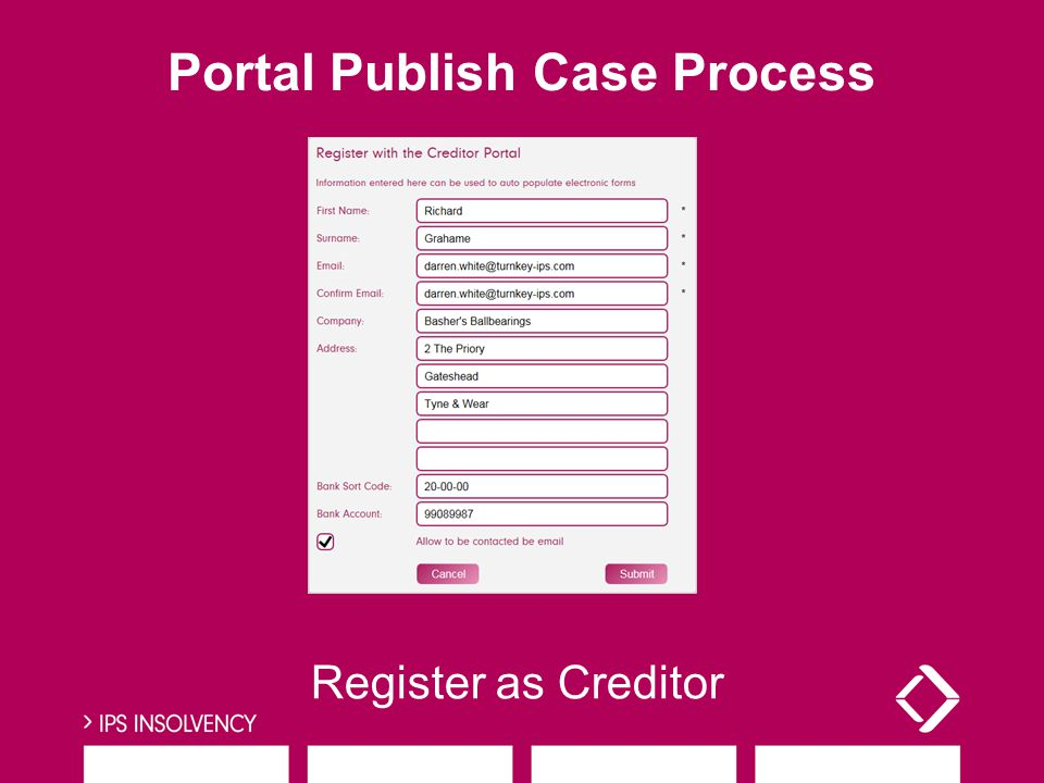 Register as Creditor Portal Publish Case Process