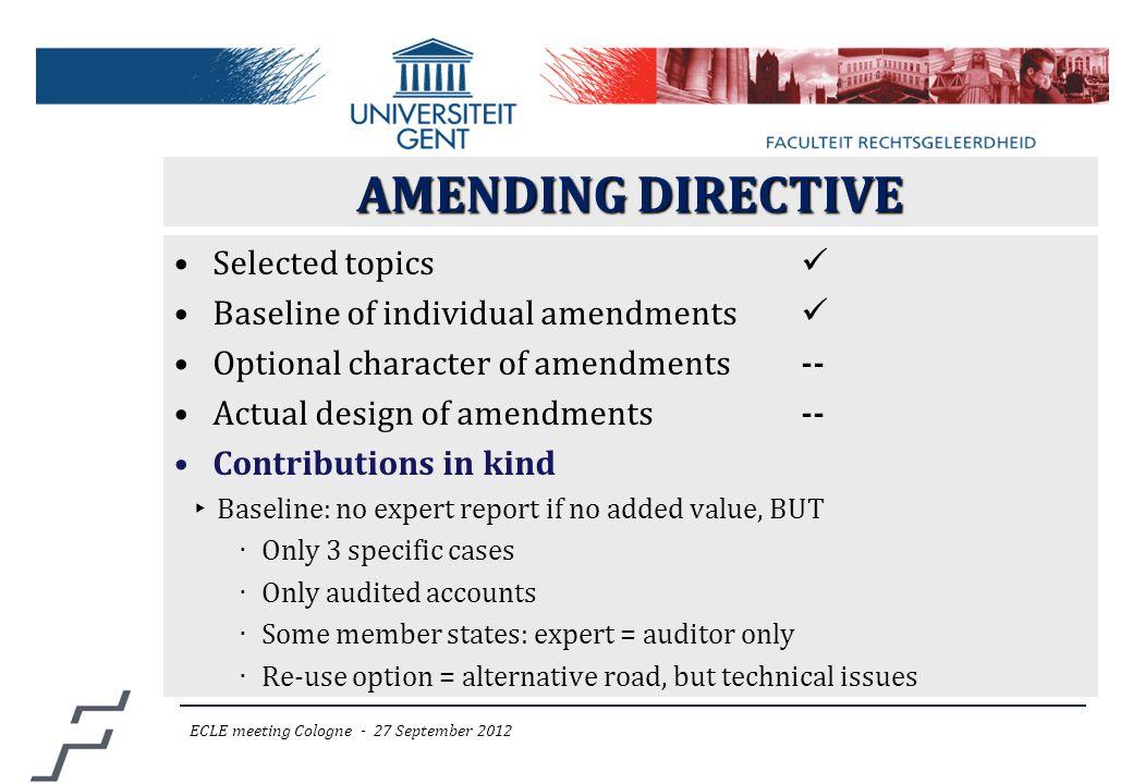 AMENDING DIRECTIVE Selected topics Baseline of individual amendments Optional character of amendments-- Actual design of amendments-- Contributions in
