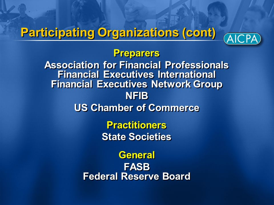 Participating Organizations (cont) Preparers Association for Financial Professionals Financial Executives International Financial Executives Network Group NFIB US Chamber of Commerce Practitioners State Societies General FASB Federal Reserve Board Preparers Association for Financial Professionals Financial Executives International Financial Executives Network Group NFIB US Chamber of Commerce Practitioners State Societies General FASB Federal Reserve Board