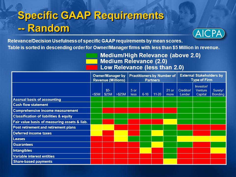 Relevance/Decision Usefulness of specific GAAP requirements by mean scores.