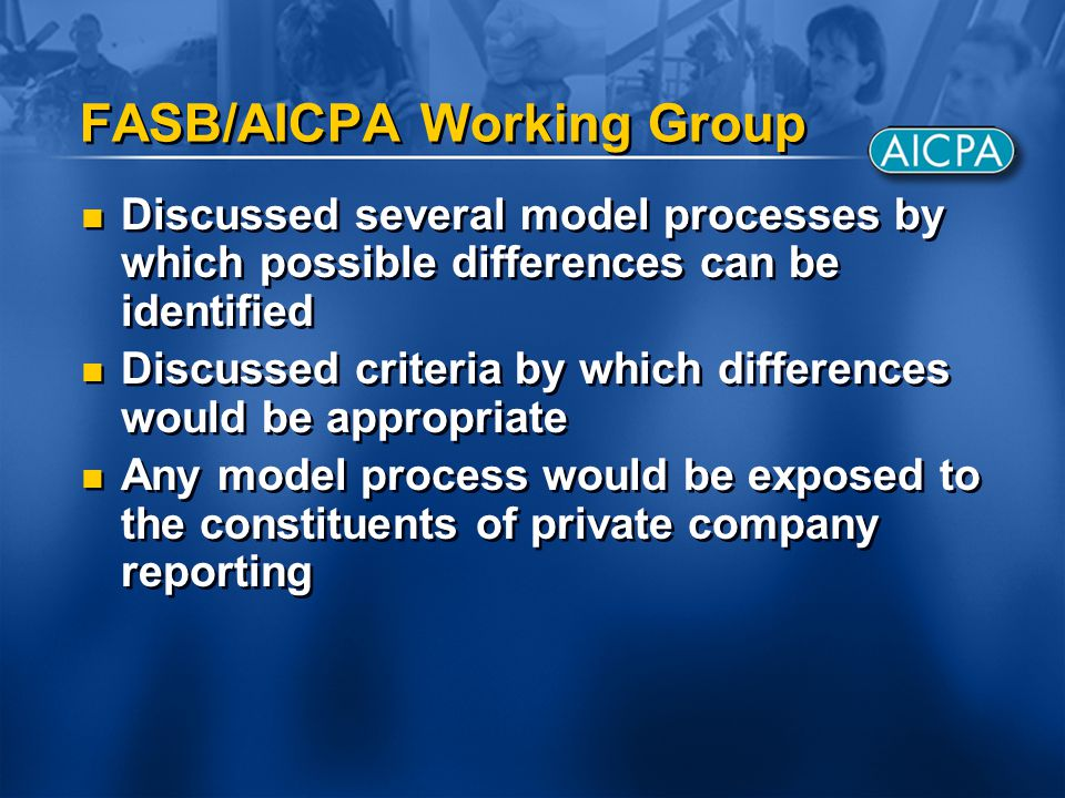 FASB/AICPA Working Group Discussed several model processes by which possible differences can be identified Discussed criteria by which differences wou