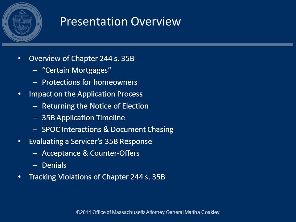 Presentation Overview Overview of Chapter 244 s.
