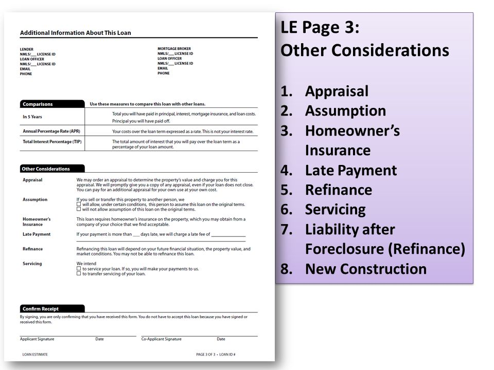 LE Page 3: Other Considerations 1.Appraisal 2.Assumption 3.Homeowner's Insurance 4.Late Payment 5.Refinance 6.Servicing 7.Liability after Foreclosure