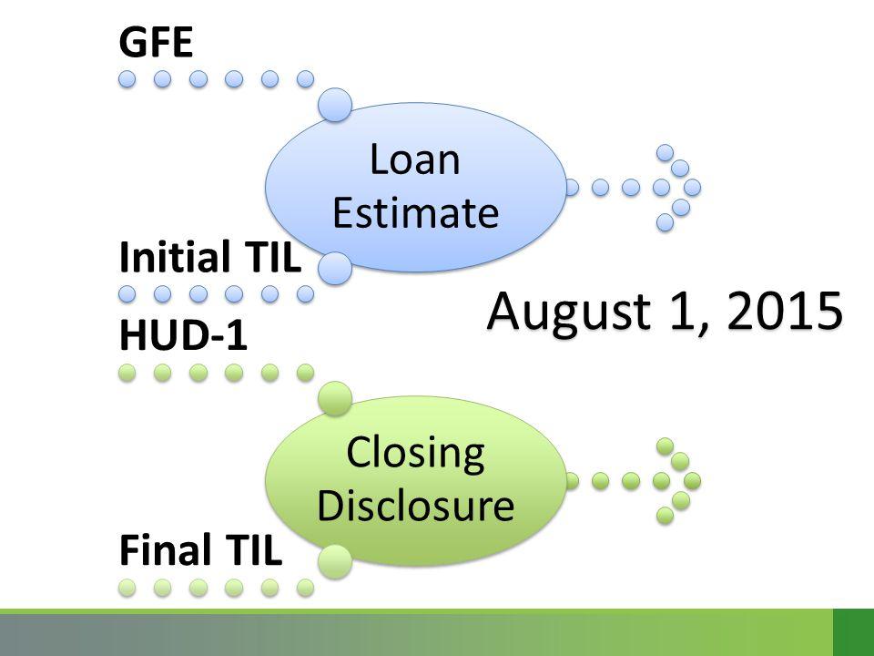Loan Estimate GFE Initial TIL Closing Disclosure HUD-1 Final TIL August 1, 2015