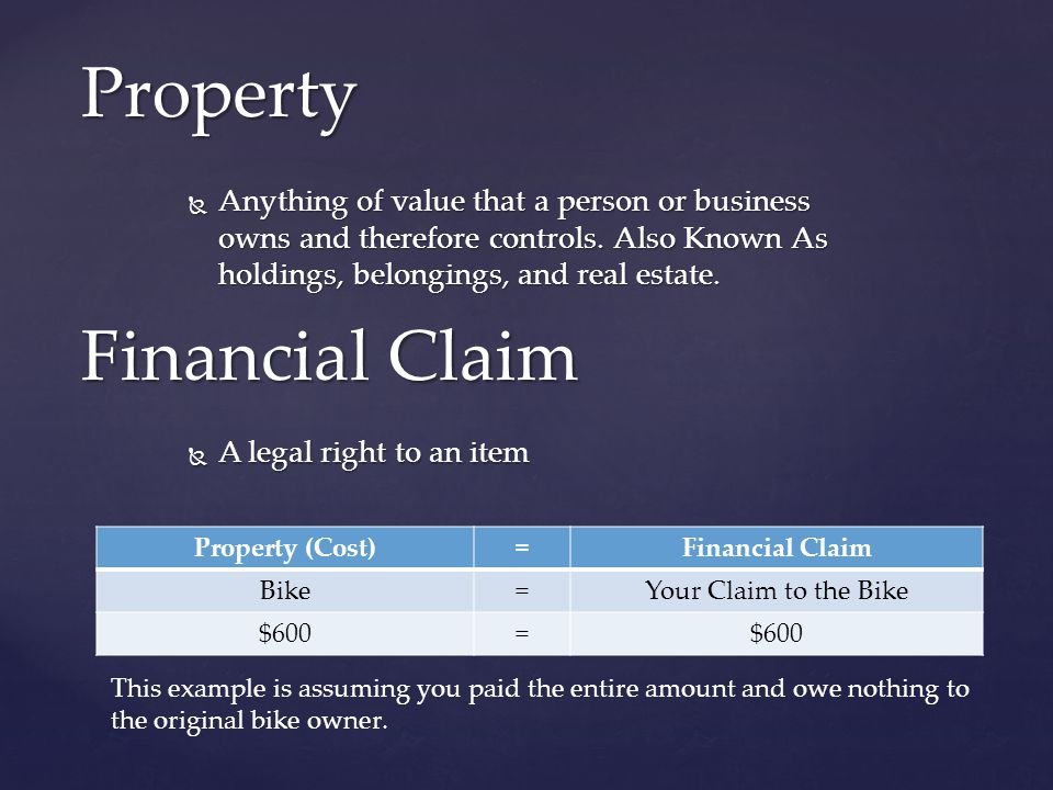  Anything of value that a person or business owns and therefore controls. Also Known As holdings, belongings, and real estate. Property Financial Cla