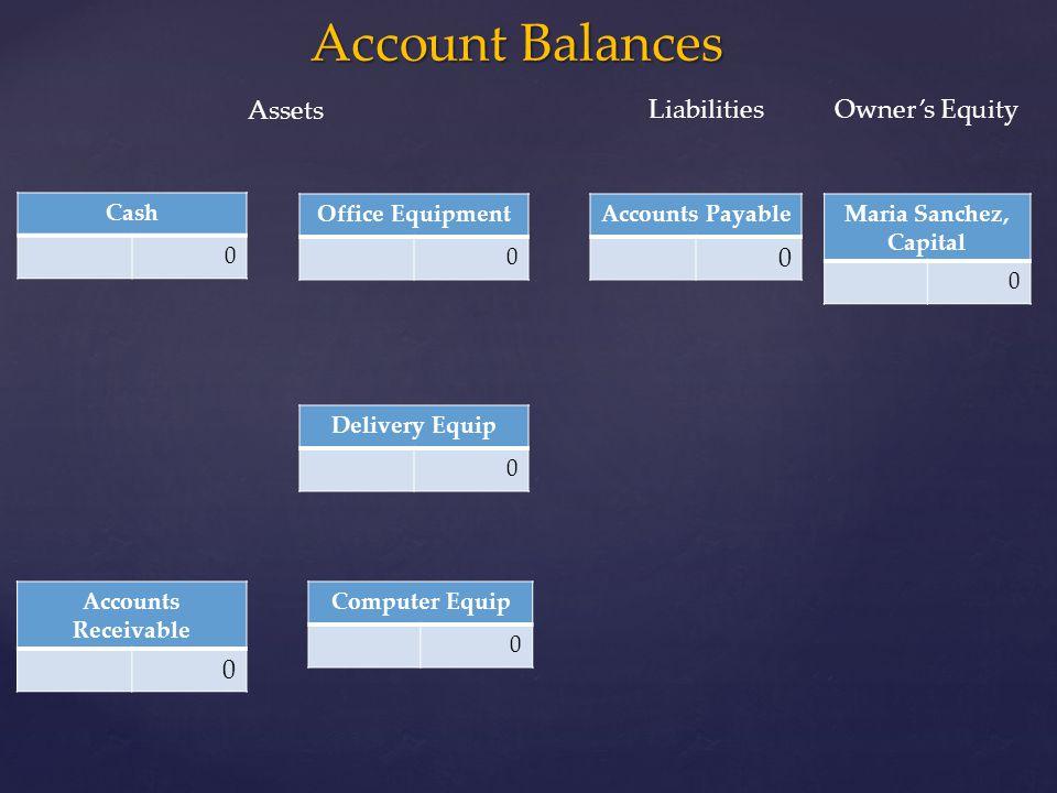 Account Balances Cash 0 Office Equipment 0 Maria Sanchez, Capital 0 Computer Equip 0 Delivery Equip 0 Accounts Payable 0 Accounts Receivable 0 Assets