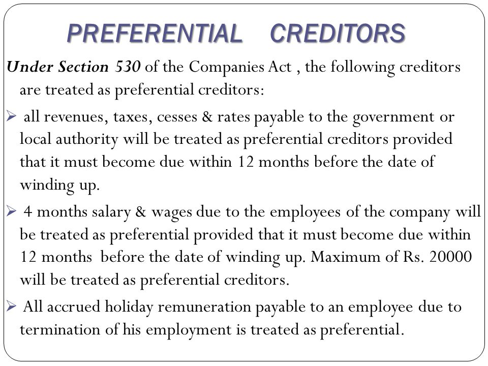 Preference shareholders get the priority over the equity shareholders as regards the payment of their capital & the dividend payable upto the ate of winding up.