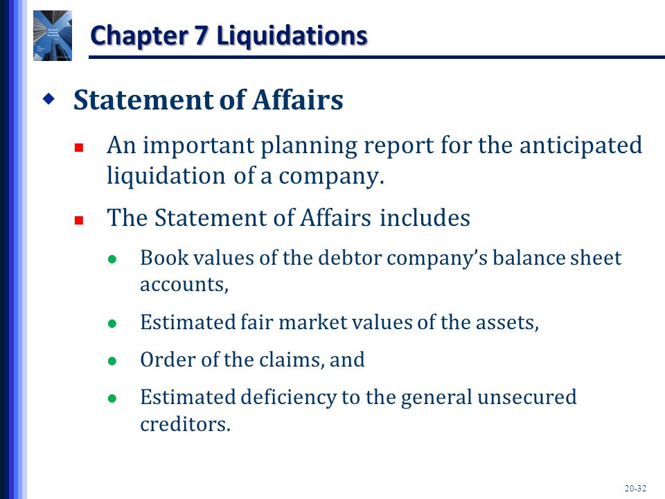 20-32 Chapter 7 Liquidations  Statement of Affairs An important planning report for the anticipated liquidation of a company. The Statement of Affair