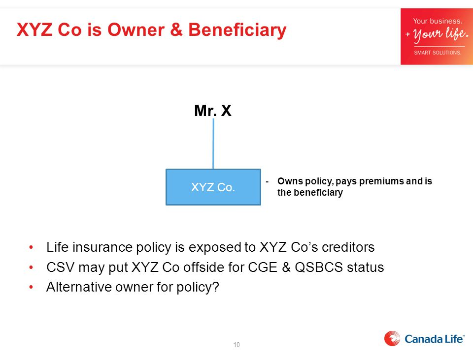 Life insurance policy is exposed to XYZ Co's creditors CSV may put XYZ Co offside for CGE & QSBCS status Alternative owner for policy? Mr. X -Owns pol