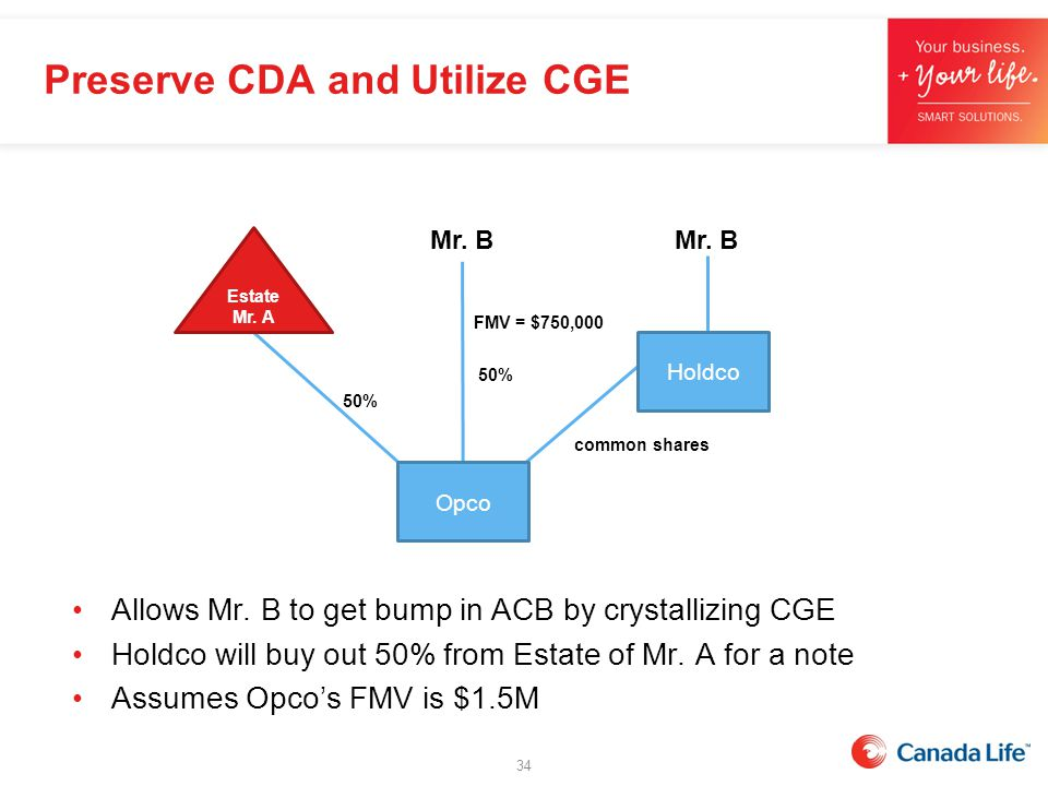 Preserve CDA and Utilize CGE Allows Mr. B to get bump in ACB by crystallizing CGE Holdco will buy out 50% from Estate of Mr. A for a note Assumes Opco