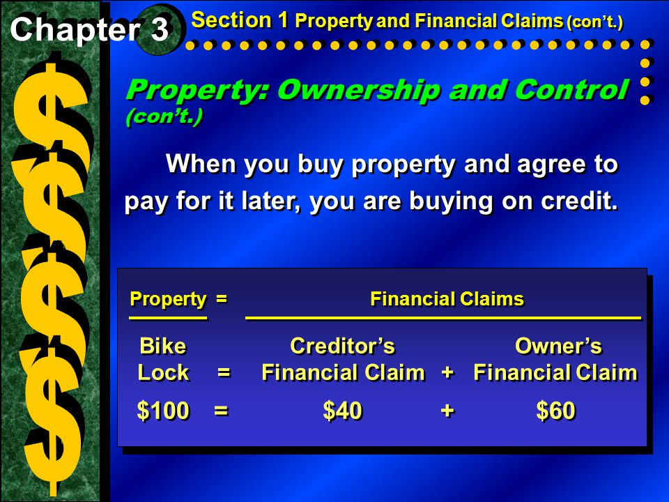 Property: Ownership and Control (con't.) When you buy property and agree to pay for it later, you are buying on credit. Property: Ownership and Contro