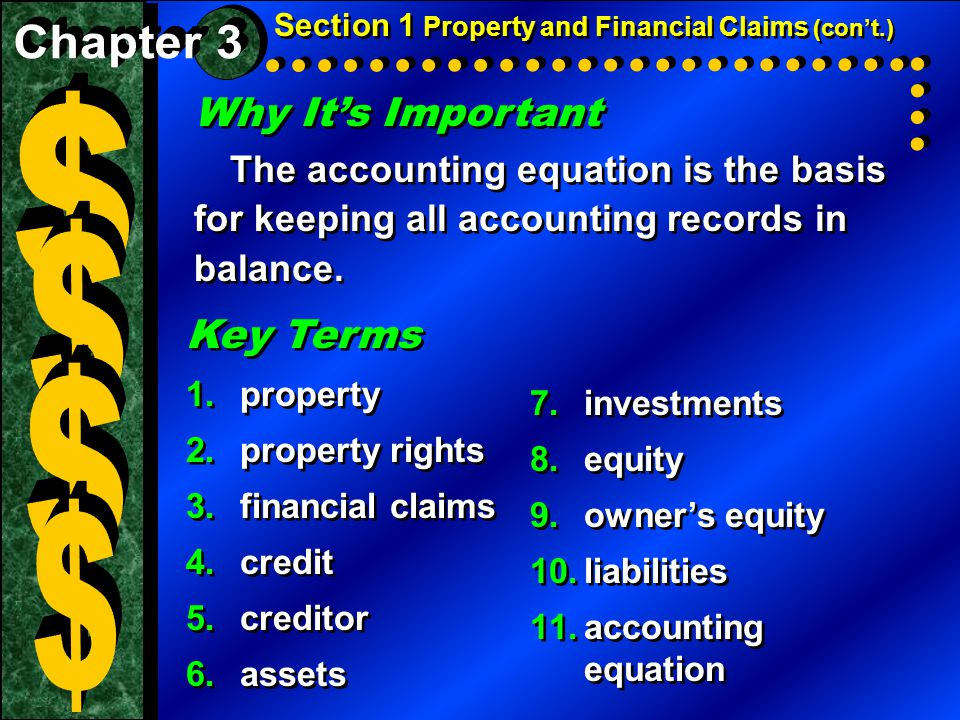 Why It's Important The accounting equation is the basis for keeping all accounting records in balance.