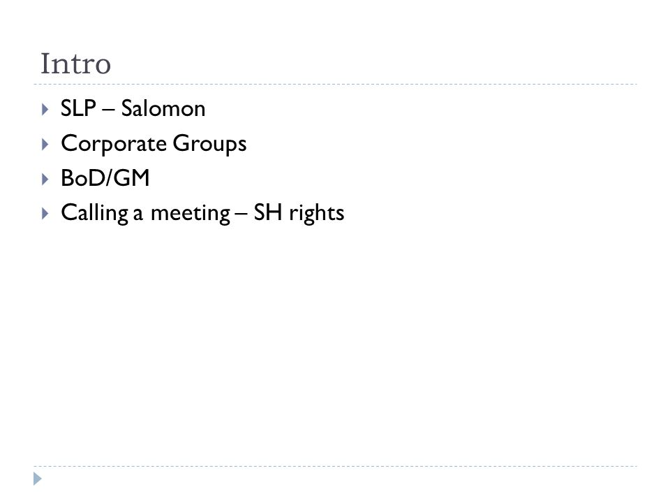 Intro  SLP – Salomon  Corporate Groups  BoD/GM  Calling a meeting – SH rights