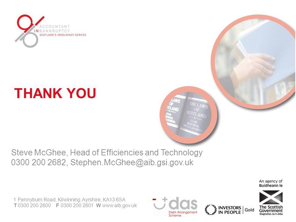 Steve McGhee, Head of Efficiencies and Technology 0300 200 2682, Stephen.McGhee@aib.gsi.gov.uk 1 Pennyburn Road, Kilwinning, Ayrshire, KA13 6SA T 0300 200 2600 F 0300 200 2601 W www.aib.gov.uk THANK YOU