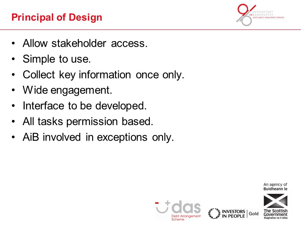 Principal of Design Allow stakeholder access. Simple to use.