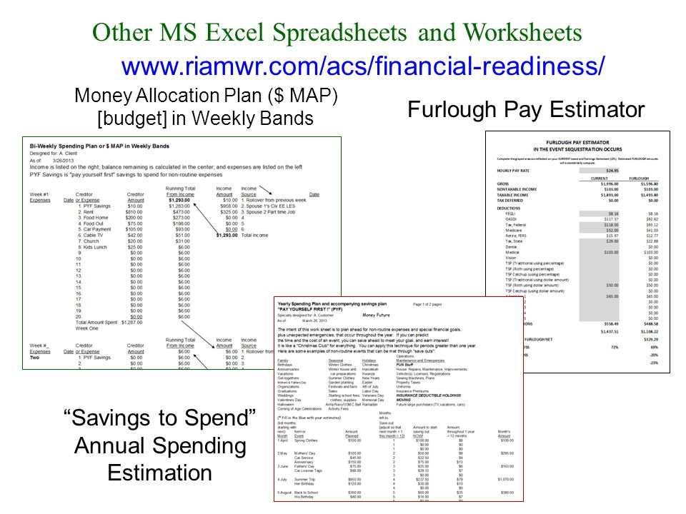 Other MS Excel Spreadsheets and Worksheets Furlough Pay Estimator Money Allocation Plan ($ MAP) [budget] in Weekly Bands Savings to Spend Annual Spending Estimation www.riamwr.com/acs/financial-readiness/