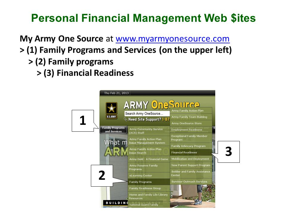 My Army One Source at www.myarmyonesource.comwww.myarmyonesource.com > (1) Family Programs and Services (on the upper left) > (2) Family programs > (3) Financial Readiness Personal Financial Management Web $ites 1 2 3