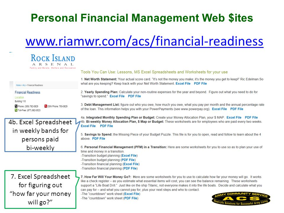 Personal Financial Management Web $ites www.riamwr.com/acs/financial-readiness 4b.