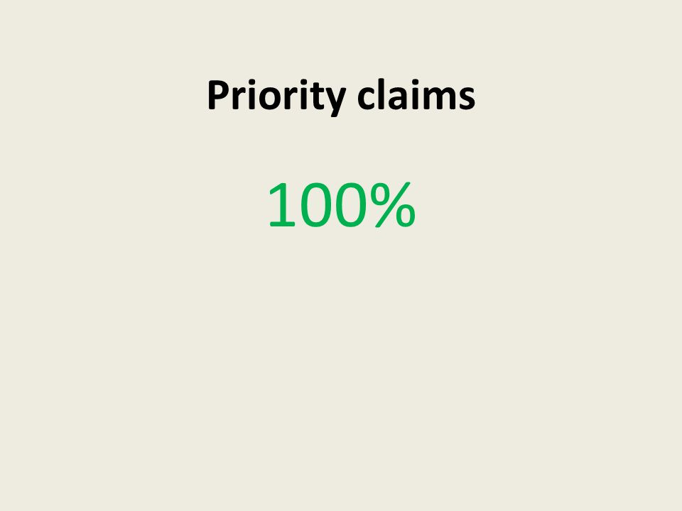 Priority claims 100%