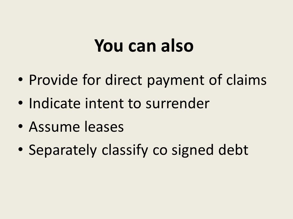 You can also Provide for direct payment of claims Indicate intent to surrender Assume leases Separately classify co signed debt