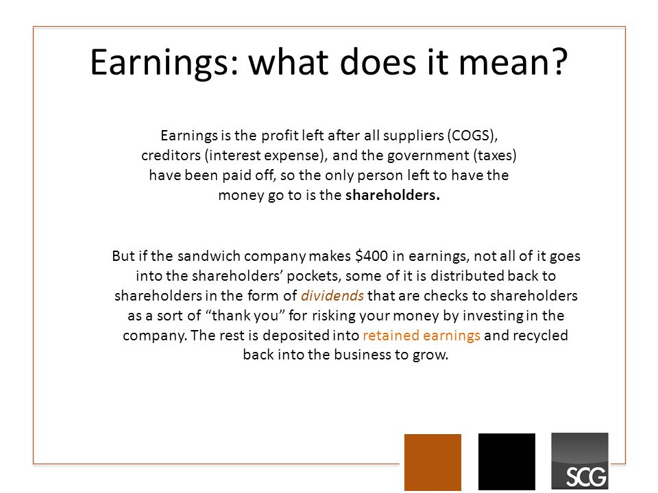 Earnings: what does it mean.