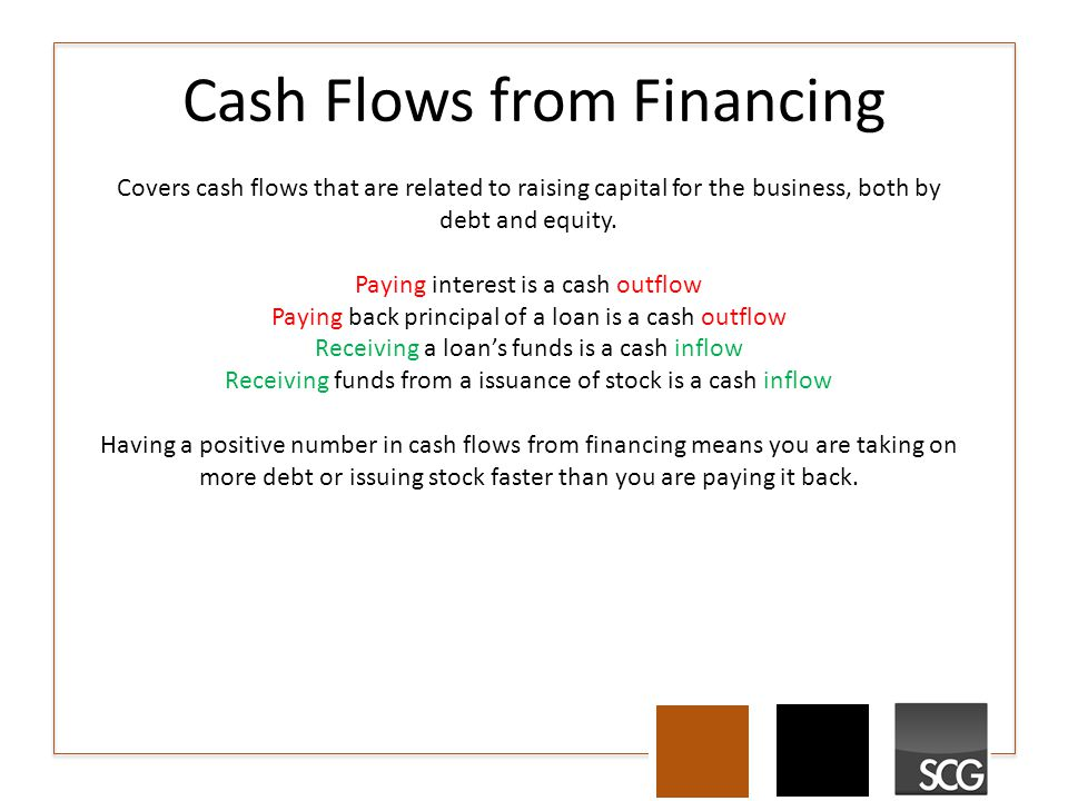 Cash Flows from Financing Covers cash flows that are related to raising capital for the business, both by debt and equity.