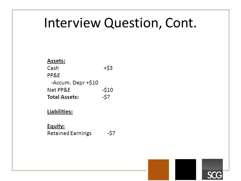 Interview Question, Cont. Assets: Cash +$3 PP&E -Accum.
