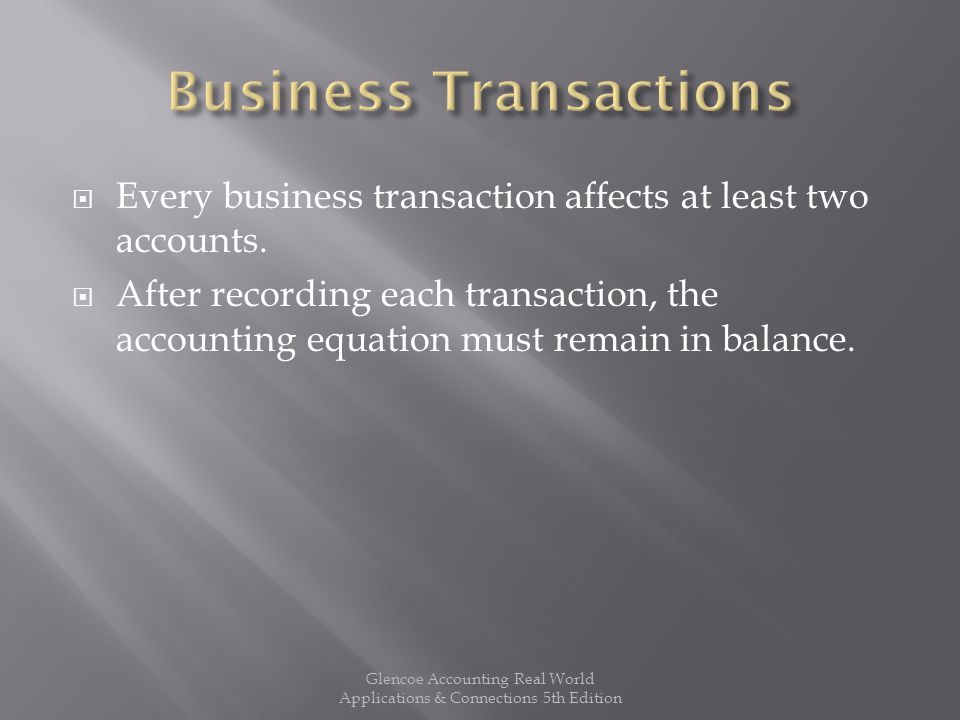  Every business transaction affects at least two accounts.