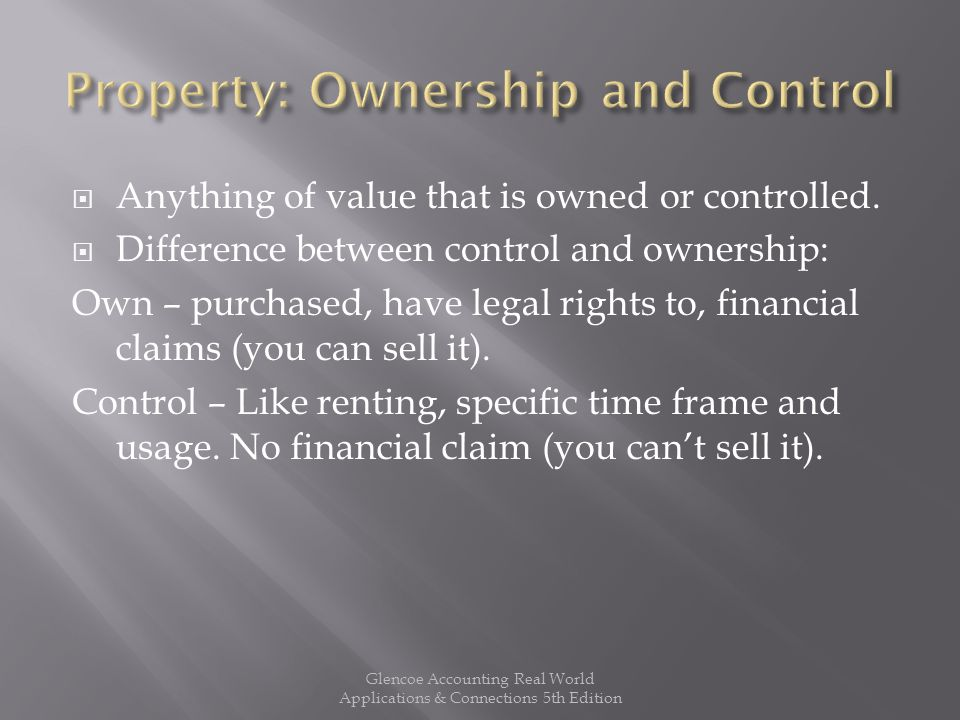  Property rights = financial claims  Example: you purchase an Ipod for $400 Property = Financial Claims (Cost) (Financial Investment) Ipod= Your claim to the Ipod $400= $400 Glencoe Accounting Real World Applications & Connections 5th Edition