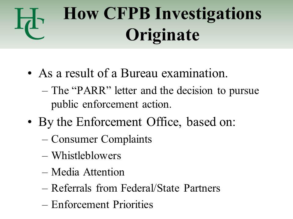 How CFPB Investigations Originate As a result of a Bureau examination.