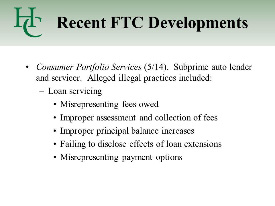 Recent FTC Developments Consumer Portfolio Services (5/14).