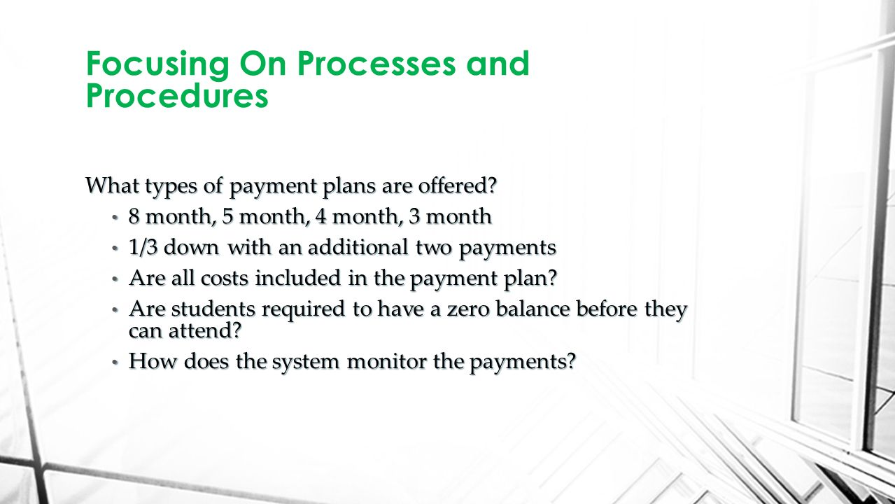 What types of payment plans are offered.