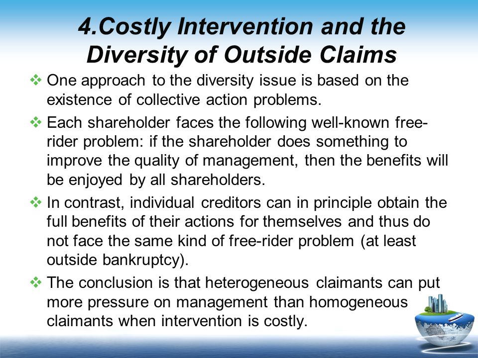 4.Costly Intervention and the Diversity of Outside Claims  One approach to the diversity issue is based on the existence of collective action problems.