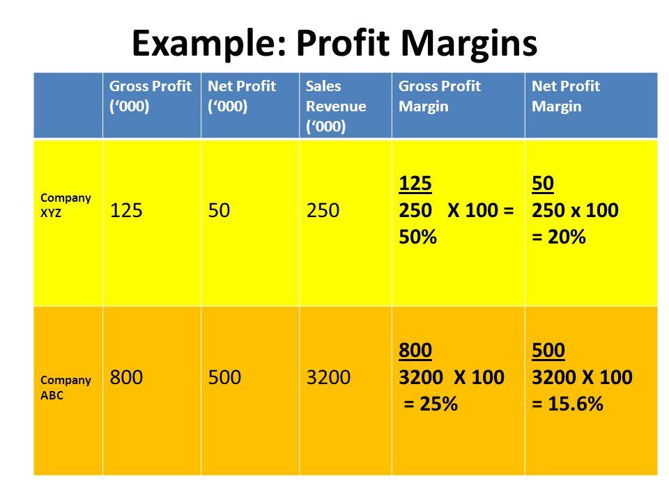 Example: Profit Margins Gross Profit ('000) Net Profit ('000) Sales Revenue ('000) Gross Profit Margin Net Profit Margin Company XYZ 12550250 125 250 X 100 = 50% 50 250 x 100 = 20% Company ABC 8005003200 800 3200 X 100 = 25% 500 3200 X 100 = 15.6%