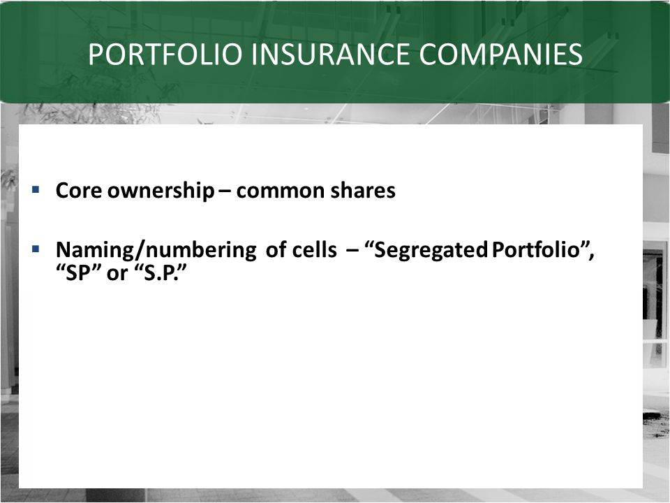 PORTFOLIO INSURANCE COMPANIES  Core ownership – common shares  Naming/numbering of cells – Segregated Portfolio , SP or S.P.