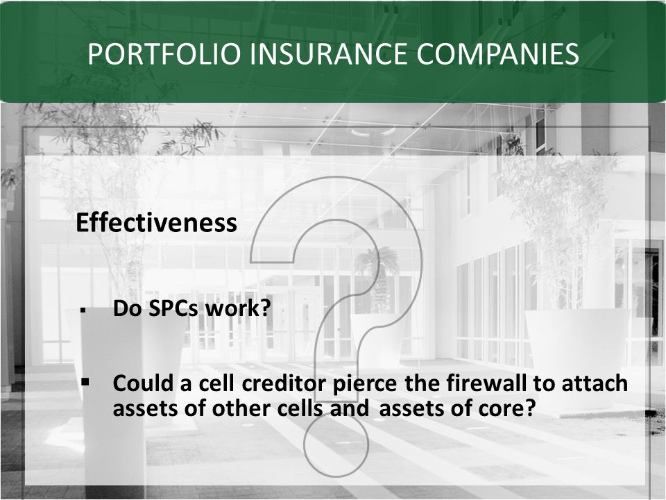 PORTFOLIO INSURANCE COMPANIES Effectiveness  Do SPCs work.