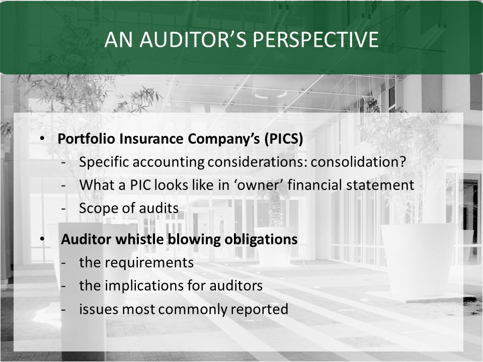 AN AUDITOR'S PERSPECTIVE Portfolio Insurance Company's (PICS) -Specific accounting considerations: consolidation.